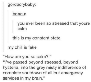 """Duh: gordacrybaby:  bepeu:  you ever been so stressed that youre  calm  this is my constant state  my chill is fake  """"How are you so calm?!""""  """"I've passed beyond stressed, beyond  hysteria, into the grey misty indifference of  complete shutdown of all but emergency  services in my brain.""""  13 Duh"""