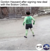 Gordon Hayward be like... (via @nbamultiverse, @persources): Gordon Hayward after signing new deal  with the Boston Celtics.  PS  ABA  MUL TIVERSE Gordon Hayward be like... (via @nbamultiverse, @persources)