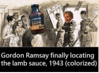 dankmemes a children's book is based on this: Gordon Ramsay finally locating  the lamb sauce, 1943 (colorized) dankmemes a children's book is based on this
