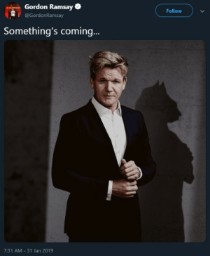 Gif, Gordon Ramsay, and Tumblr: Gordon Ramsay  @GordonRamsay  Follow  Something's coming.  7:31 AM -31 Jan 2019 hehthar:  averyboneyguy:   carnival-phantasm:   Gordon Ramsey fursona reveal!  :/