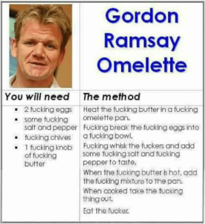 Fucking, Gordon Ramsay, and Reddit: Gordon  Ramsay  Omelette  You will need  The method  2 fucking eggs Heat the fucking butter in a fucking  some fucking  salt and pepper Fucking break the fucking eggs into  fucking chives  1 fucking knob Fucking whisk the fuckers and add  of fucking  butter  omelette pan.  a fucking bowl.  some fucking salt and fucking  pepper to taste.  When the fucking butter is hot, add  the fucking mixture to the pan.  When cooked take the fucking  thing out.  Eat the fucker. Original Gordon Ramsay receipe