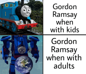 Its like hes two different people in one: Gordon  Ramsay  when  with kids  RiO  Gordon  Ramsay  when with  adults Its like hes two different people in one