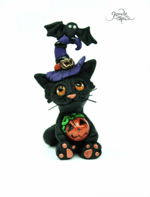 handmadegift-ideas:    Witch Cat Sculpture - Halloween decoration - Cat and pumpkin figurine - halloween cat - black cat - witch cat - halloween sculpture     A cute little witch cat sculpture made out of polymer clay. She's holding a pumpkin and has a bat friend :)For the finishing touches I painted it with acrylic paint, and on some parts lacquer coat. Ideal for halloween good luck charm. :)     Only 1 available   : Goriosa Art handmadegift-ideas:    Witch Cat Sculpture - Halloween decoration - Cat and pumpkin figurine - halloween cat - black cat - witch cat - halloween sculpture     A cute little witch cat sculpture made out of polymer clay. She's holding a pumpkin and has a bat friend :)For the finishing touches I painted it with acrylic paint, and on some parts lacquer coat. Ideal for halloween good luck charm. :)     Only 1 available