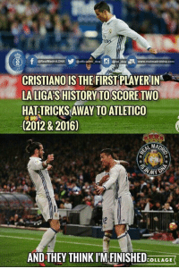 Record Breaker 💪💪  < souma cr7 >: gorticiairmo dna  @RealMadrid.DNA  dna www.realmadriddinha com  @rm CRISTIANO IS  THEFIRST PLAYERIN  LA LIGASHISTORY TO SCORE TWO  HATTRICKSAWAY TOATLETICO  (2012 & 2016)  AMADA  MN  AND THEY THINK IM FINISHED  COLLAGE Record Breaker 💪💪  < souma cr7 >
