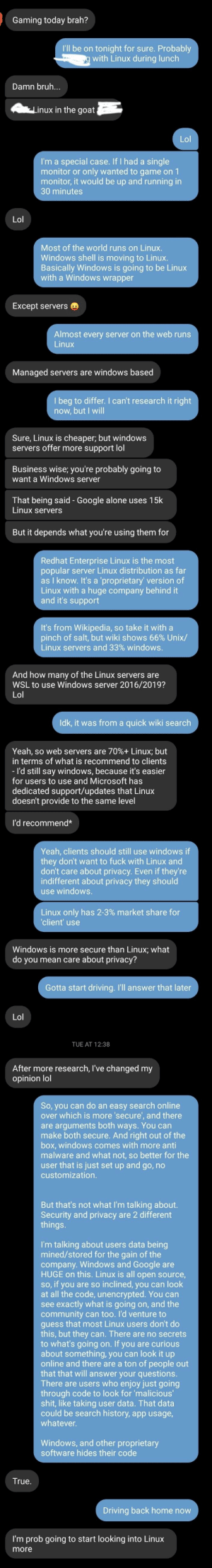 Got a friend to nibble the Linux hook! Probably some misinformation in my messages to him, but I didn't have a ton of time to research during our messages.: Got a friend to nibble the Linux hook! Probably some misinformation in my messages to him, but I didn't have a ton of time to research during our messages.