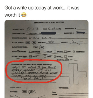 "Employee Write Up by LostInTheShadows_ MORE MEMES: Got a write up today at work...it was  worth it  EMPLOYEE INCIDENT REPORT  요-11 18  6:02 AM心  · TIME:  EQUIPMENT ""  NCIDENT DATE  EMPLOYEE NAME  INCIDENT LOCATION: ialto CA,  ejen  aZ  PouCE REPORT 回예 REPORT. yas  AGENCY  -  EMPLOYEE INJURIES  NATURE orINURH-  □ FRACTURE  □SPRAIN  □BRUISELIcur ゼIRRITATION  HANDS / ARMS  DESCRIBE THE INCIDENT (Use the diagram if necessary):  SAYS HE NEeDS T Go Hode  Eably BECAUSE ""HE Hes  OTHER PARTY  WITNESSES:  INJURIES: YES  Name:  Address:  Name Employee Write Up by LostInTheShadows_ MORE MEMES"