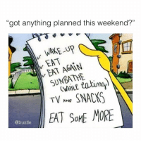 "Memes, Some More, and 🤖: ""got anything planned this weekend?""  (0  WAKE -UP  EAT  EAT AGAIN  SUNBATHE  (WHILE  TV SNACKS  EAT SOME MORE  @bustle yup, that's pretty much the whole agenda!!!"