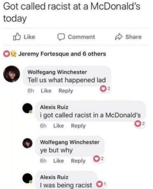Wolfegang Winchester asking the real questions: Got called racist at a McDonald's  today  Like  Share  Comment  OJeremy Fortesque and 6 others  Wolfegang Winchester  Tell us what happened lad  2  6h Like Reply  Alexis Ruiz  i got called racist in a McDonald's  2  6h Like Reply  Wolfegang Winchester  ye but why  2  6h Like Reply  Alexis Ruiz  1  I was being racist Wolfegang Winchester asking the real questions