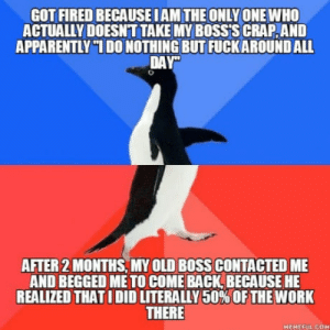 """Its a small place with 6 people: GOT FIRED BECAUSE IAM THE ONLY ONE WHO  ACTUALLY DOESNT TAKE MY BOSS'S CRAP,AND  APPARENTLY""""1 DO NOTHING BUT FUCKAROUND ALL  DAY""""  AFTER 2 MONTHS, MY OLD BOSS CONTACTED ME  AND BEGGED ME TO COME BACK, BECAUSE HE  REALIZED THAT I DID LITERALLY 50% OF THE WORK  THERE  HEMEFUL COM Its a small place with 6 people"""