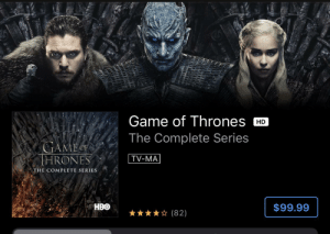 GOT on sale for iTunes. Looks like they decided to use a picture of three major characters whose arc was ruined in the final season: GOT on sale for iTunes. Looks like they decided to use a picture of three major characters whose arc was ruined in the final season