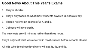 """Got this email. What do they mean by """"There's no limit on score of 3, 4, and 5"""" and """"All kids who do college-level work will get 3s, 4s, and 5s""""?: Got this email. What do they mean by """"There's no limit on score of 3, 4, and 5"""" and """"All kids who do college-level work will get 3s, 4s, and 5s""""?"""