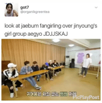 "Dad, Tumblr, and Blog: got7  @organikgreentea  look at jaebum fangirling over jinyoung's  girl group aegyo JDJJSKAJ  귀여움은자신없는 뱀뱀제  cPlayPost <p><a href=""https://iikpoptrash.tumblr.com/post/161311193848/just-dad-cheering-on-mom"" class=""tumblr_blog"">iikpoptrash</a>:</p>  <blockquote><p>Just Dad cheering on Mom 😂</p></blockquote>"