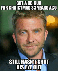 Christmas, Memes, and 🤖: GOTA BB GUN  FOR CHRISTMAS 33 YEARSAGO  STILL HASNTSHOT  HIS EYE OUT And the second amendment is still under attack. Ralphy was fine. The rest of us will be too.
