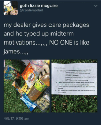 "<p>A good wholesome drug dealer. Credit to @coolemodad on twitter via /r/wholesomememes <a href=""http://ift.tt/2pbTach"">http://ift.tt/2pbTach</a></p>: goth lizzie mcguire  @coolemodad  my dealer gives care packages  and he typed up midterm  motivations... NO ONE is like  james..,  Midterms Motivation  1. Believe in yourself more than you believe in anyone else  o  o  Anything desirable will not come easy  When you do what isn't normal or expected  discomfort is inevitable.  Lean into the discomfort and use it as a stepping stone  for growth  o When told ""you can't prove to yourself  2. When things happen and you want to react ""stay the course  Stay the course: do not quit/get frustrated  a If your goals and aspirations do not scare you, they are not big  enough.  SET GOALS YOU CANNOT REACH AND REACH THEM Failure is  not an option  4/5/17, 9:06 am <p>A good wholesome drug dealer. Credit to @coolemodad on twitter via /r/wholesomememes <a href=""http://ift.tt/2pbTach"">http://ift.tt/2pbTach</a></p>"