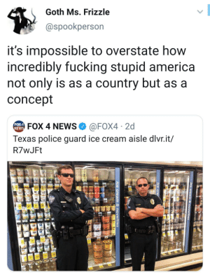 America, Fucking, and News: Goth Ms. Frizzle  @spookperson  it's impossible to overstate how  incredibly fucking stupid america  not only is as a country but as a  concept  @FOX4 2d  Texas police guard ice cream aisle dlvr.it/  FOX4  NEWS  FOX 4 NEWS  R7wJFt  34  790  ice cream & novelties  ice cre  ice cream & novelties Me_irl