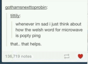 Word, Sad, and Helps: gothamsnexttoprobin:  tittily:  whenever im sad i just think about  how the welsh word for microwave  is popty ping  that.. that helps.  136,719 notes You should look up the word for jellyfish tho