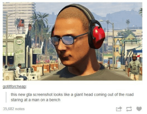 Giant Head: gotitforcheap  this new gta screenshot looks like a giant head coming out of the road  staring at a man on a bench  35,682 notes Giant Head