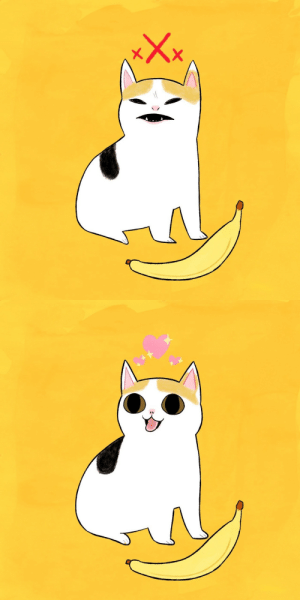 gotsickofmyoldurl:  chuckdrawsthings: the duality of cat for those unaware of the recent meme development the cat evidently changed her stance on banana : gotsickofmyoldurl:  chuckdrawsthings: the duality of cat for those unaware of the recent meme development the cat evidently changed her stance on banana