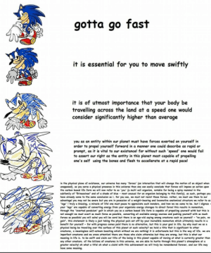 """Increasingly verbose sonic: gotta go fast  it is essential for you to move swiftly  it is of utmost importance that your body be  travelling across the land at a speed one would  consider significantly higher than average  you as an entity within our planet must have forces exerted on yourself in  order to propel yourself forward in a manner one could describe as rapid or  prompt, as it is vital to our existance! for without such 'speed' one would fail  to assert our right as the entity in this planet most capable of propelling  one's self using the bones and flesh to accellerate at a rapid pace!  in the physical plane of existance, our universe has many 'forces' (an interaction that will change the motion of an object when  unopposed). as you serve a physical presence in this universe then one can casily conclude that forces will impose an action upon  the carbon based life form we will now refer to as 'you' (a multi cell organism, notable for being a spiny mammal in the  subfamily of """"Erinaceinae"""" and of a shade of blue - most unusual for an organism belonging to this family). as such, perhaps you  have already come to the same conclusion as i. for you see, we must not resist these forces. rather, we must use them to our  advantage! you may not be aware but you are in posession of a weight-bearing and locomotive anatomical structure we refer to as  'legs' ! truly a blessing, a miracle of life! one must pause to appreciate such wonders, and how we we came to be. but i digress  your 'legs' are capable of converting energy from your organisms energy storages to direct force! this results in momentum,  through the 'inverted pendulum' gait in which you as a carbon based life form is capable of propelling yourself with! but this is  not enough! we must exert as much force as possible, converting all avaliable energy sources and pushing yourself with as much  forces as possible! you will ache! you will be sore! but there is an age-old saying among creatures such as yours"""