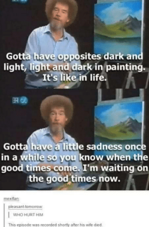 We never deserved Bob Ross: Gotta have opposites dark and  light, light and dark in painting.  It's like in life.  ERO  Gotta have a little sadness once  in a while so you know when the  good times come. I'm waiting on  the good times now.  mexiflan  pleasant-tomorrow  WHO HURT HIM  This episode was recorded shortly after his wife died We never deserved Bob Ross