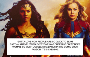 "theamazingcaptainspider:  hayley566:  waveringwannabevalkyrie: libertarirynn:  hayley566:  I think I know why that is. It's because Wonder Woman is more fantasy-esque and Captain Marvel is a more harsh reality.  Let me explain, Wonder Woman grew up in a paradise without men or sexism and just now entered the world of man and just now experienced sexism. Carol grew up in the world of man and grew up within this system. That and Wonder Woman takes place further in the past, making it easier to think ""wow, back then was awful but we're way better now"" while several comic fans grew up in the 90's, making it feel not that long ago.  While I love both films, I do feel like Captain Marvel took more risks than Wonder Woman in this sense and I applaud it for that.  Miss me with that nonsense. The Carol we see at the start of the film only remembers her life on a planet where men and women were equally trained combatants and as far as we can tell have the respect of their male peers. Yes she was technically born on earth but until the latter half of the film she doesn't remember that part. Her personality is shaped by the world that she remembers. And how is it ""taking risks"" to have a character that's almost completely invulnerable and whose only ""flaw"" is not realizing how awesome she actually is, even though she was already practically all powerful? How is it taking risks to have a character who basically never learns or grows and is just already a badass who dispatches all enemies with little to no difficulty?  Diana had to face defeat and the possibility that her simplistic belief in justice and the existence of war need to be re-examined. She had to work with others and listen to wisdom and advice in order to make informed decisions. She was powerful, but not invulnerable. She was relatable and likable. She didn't go around being cold and rude to people for no damn reason and ooze pretension with every word she spoke.  Y'all really can't distinguish fiction from reality huh? I call bullshit on ""wOrLd oF mEn"" bullshit because CM's writing was fucking trash. Literally every single fucking man she met besides Nick Fury and the Skrull guy was a complete misogynistic caricature, to the point that her FUCKING DAD'S first reaction to her getting in a go-cart accident was not desperate fear/concern for his only daughter, but to…immediately belittle her? No babe that's not reality, that's shit ass writers who have no sense of nuance and no sense of developing villains because ""UHHHHH HERO IS WOMAN AND MAN HATE WOMAN SO ALL MEN BAD"".Take another example, the boot camp scene where apparently like 8 white guys have nothing to do except stand around and taunt Carol? Except in real life boot camp no one has fucking time to stand around, your ass is constantly being drilled and harassed by your drill instructor, and all of the recruits are being shaped into a unit to WORK TOGETHER, with everyone being treated equally harshly. (Also, I'm supposed to believe that boot camp back in the 80's/90's was unisex?) If it was just Carol training on her own, that again begs the question of why an entire group of guys was just staring at her while she was training instead of I don't know… doing their own training? Relaxing on base during what little leisure time they had? But those questions don't matter because the writers didn't give a damn about reality. They only gave a fuck about pushing their bullshit man hating agenda, strawmanning all men, and creating a situation where Carol was nothing but a poor innocent victim of evil cruel men. They literally only existed to victimize Carol and make all of her behavior seem acceptable because ""they were mean to her first, so if she decides to nearly break a man's hand off and steal his motorcycle later, it's okay!"" That's not fucking realism, that's hack writing.Captain Marvel is bad, she's not even remarkable by the standards of female characters, and quite frankly it's insulting that you ignore and downplay other, far more iconic and well-written female heroes just because Carol plays to your politics. @waveringwannabevalkyrie ""world of man"" is a term used in the Wonder Woman comics several times to describe the world outside of themiscrya. That's why I used it here. I would go over how abusive men do exist, just like abusive women do and how I've had my own experiences with an abusive father but from your tone, I think if I explain anymore you would make fun of me or something with the whole ""aw you have daddy issues and that's why you like the movie lol"". I'm so hope you're not that cruel but knowing the internet, you cannot be safe. I just hope you're not like those kind of people that I met and are willing to at least understand that just because you don't experience something doesn't mean it's the same for everyone else.@libertarirynn as someone who's seen the movie, I feel like the struggle was more than just ""not knowing how awesome she was."" She was being lied to about her entire life for six years and we even see her have a breakdown upon realizing this. We see her sobbing out in a field over finding all this out. The idea of finally being free from the control of others, whether male or female (people seem to forget that minn-erva was also a villain in the movie) in both a physical and emotional sense. Despite Carol having her memories wiped in the beginning, the audience gets flashes of the sexism she faced growing up. While I love both films, I will say that captain marvel spoke to me more than Wonder Woman because of my own personal experiences and if it didn't do the same for you guys, that's fine. I just feel that the movie gets misrepresented or misinterpreted a lot and that it is unfair. It sucks that Wonder Woman is used to bash captain marvel despite the different approaches the movies take towards women's issues. In fact, that behavior has caused me to like Wonder Woman less and less and I really don't want that to happen. Not only do I start to see the flaws in the film being put on a pedestal, I become more defensive of the one that's being misrepresented. I still love the Wonder Woman movie but the internet makes it hard to sometimes.I guess what I'm saying is…I wish fans wouldn't use one to bash the other. I honestly wasn't trying to bash Wonder Woman or use captain marvel to do so in my last reply.  I was just explaining how one is more successful since it tried to be more palatable while the other took more risks in being a feminist film. I hope you both can see that I am not looking for a fight and am just explaining myself. I hope this helped you understand where I'm coming from and that instead of arguing or throwing insults like what usually happens online, this can be handled amicably.  Both are good movies.People who hate them or use one to trash the other are secist idiots. End of story  Or maybe they just have a different opinion and maybe you need to learn how to spell ""sexist"" before calling anyone else an idiot.: GOTTA LOVE HOW PEOPLE ARE SO QUICK TO SLAM  CAPTIAN MARVEL WHEN EVERYONE WAS CHEERING ON WONDER  WOMAN. SO MUCH DOUBLE STANDARDS IN THE COMIC BOOK  FANDOM IT'S SICKENING.  SUPER-HERO-COonFESSIons theamazingcaptainspider:  hayley566:  waveringwannabevalkyrie: libertarirynn:  hayley566:  I think I know why that is. It's because Wonder Woman is more fantasy-esque and Captain Marvel is a more harsh reality.  Let me explain, Wonder Woman grew up in a paradise without men or sexism and just now entered the world of man and just now experienced sexism. Carol grew up in the world of man and grew up within this system. That and Wonder Woman takes place further in the past, making it easier to think ""wow, back then was awful but we're way better now"" while several comic fans grew up in the 90's, making it feel not that long ago.  While I love both films, I do feel like Captain Marvel took more risks than Wonder Woman in this sense and I applaud it for that.  Miss me with that nonsense. The Carol we see at the start of the film only remembers her life on a planet where men and women were equally trained combatants and as far as we can tell have the respect of their male peers. Yes she was technically born on earth but until the latter half of the film she doesn't remember that part. Her personality is shaped by the world that she remembers. And how is it ""taking risks"" to have a character that's almost completely invulnerable and whose only ""flaw"" is not realizing how awesome she actually is, even though she was already practically all powerful? How is it taking risks to have a character who basically never learns or grows and is just already a badass who dispatches all enemies with little to no difficulty?  Diana had to face defeat and the possibility that her simplistic belief in justice and the existence of war need to be re-examined. She had to work with others and listen to wisdom and advice in order to make informed decisions. She was powerful, but not invulnerable. She was relatable and likable. She didn't go around being cold and rude to people for no damn reason and ooze pretension with every word she spoke.  Y'all really can't distinguish fiction from reality huh? I call bullshit on ""wOrLd oF mEn"" bullshit because CM's writing was fucking trash. Literally every single fucking man she met besides Nick Fury and the Skrull guy was a complete misogynistic caricature, to the point that her FUCKING DAD'S first reaction to her getting in a go-cart accident was not desperate fear/concern for his only daughter, but to…immediately belittle her? No babe that's not reality, that's shit ass writers who have no sense of nuance and no sense of developing villains because ""UHHHHH HERO IS WOMAN AND MAN HATE WOMAN SO ALL MEN BAD"".Take another example, the boot camp scene where apparently like 8 white guys have nothing to do except stand around and taunt Carol? Except in real life boot camp no one has fucking time to stand around, your ass is constantly being drilled and harassed by your drill instructor, and all of the recruits are being shaped into a unit to WORK TOGETHER, with everyone being treated equally harshly. (Also, I'm supposed to believe that boot camp back in the 80's/90's was unisex?) If it was just Carol training on her own, that again begs the question of why an entire group of guys was just staring at her while she was training instead of I don't know… doing their own training? Relaxing on base during what little leisure time they had? But those questions don't matter because the writers didn't give a damn about reality. They only gave a fuck about pushing their bullshit man hating agenda, strawmanning all men, and creating a situation where Carol was nothing but a poor innocent victim of evil cruel men. They literally only existed to victimize Carol and make all of her behavior seem acceptable because ""they were mean to her first, so if she decides to nearly break a man's hand off and steal his motorcycle later, it's okay!"" That's not fucking realism, that's hack writing.Captain Marvel is bad, she's not even remarkable by the standards of female characters, and quite frankly it's insulting that you ignore and downplay other, far more iconic and well-written female heroes just because Carol plays to your politics. @waveringwannabevalkyrie ""world of man"" is a term used in the Wonder Woman comics several times to describe the world outside of themiscrya. That's why I used it here. I would go over how abusive men do exist, just like abusive women do and how I've had my own experiences with an abusive father but from your tone, I think if I explain anymore you would make fun of me or something with the whole ""aw you have daddy issues and that's why you like the movie lol"". I'm so hope you're not that cruel but knowing the internet, you cannot be safe. I just hope you're not like those kind of people that I met and are willing to at least understand that just because you don't experience something doesn't mean it's the same for everyone else.@libertarirynn as someone who's seen the movie, I feel like the struggle was more than just ""not knowing how awesome she was."" She was being lied to about her entire life for six years and we even see her have a breakdown upon realizing this. We see her sobbing out in a field over finding all this out. The idea of finally being free from the control of others, whether male or female (people seem to forget that minn-erva was also a villain in the movie) in both a physical and emotional sense. Despite Carol having her memories wiped in the beginning, the audience gets flashes of the sexism she faced growing up. While I love both films, I will say that captain marvel spoke to me more than Wonder Woman because of my own personal experiences and if it didn't do the same for you guys, that's fine. I just feel that the movie gets misrepresented or misinterpreted a lot and that it is unfair. It sucks that Wonder Woman is used to bash captain marvel despite the different approaches the movies take towards women's issues. In fact, that behavior has caused me to like Wonder Woman less and less and I really don't want that to happen. Not only do I start to see the flaws in the film being put on a pedestal, I become more defensive of the one that's being misrepresented. I still love the Wonder Woman movie but the internet makes it hard to sometimes.I guess what I'm saying is…I wish fans wouldn't use one to bash the other. I honestly wasn't trying to bash Wonder Woman or use captain marvel to do so in my last reply.  I was just explaining how one is more successful since it tried to be more palatable while the other took more risks in being a feminist film. I hope you both can see that I am not looking for a fight and am just explaining myself. I hope this helped you understand where I'm coming from and that instead of arguing or throwing insults like what usually happens online, this can be handled amicably.  Both are good movies.People who hate them or use one to trash the other are secist idiots. End of story  Or maybe they just have a different opinion and maybe you need to learn how to spell ""sexist"" before calling anyone else an idiot."