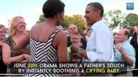 Memes, Singing, and Superman: GOV  JUNE 2011 OBAMA SHOWS A FATHER'S TOUCH  BY INSTANTLY SOOTHING A CRYING BABY ► VIDEO: From singing Al Green to a run-in with Superman, here are some of Barack Obama's best viral moments during his time as US president  For more video: http://on.irishtimes.com/ocCoRDz
