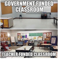 "Children, Homeless, and Memes: GOVERNMENT FUNDED  CLASSROOM  TEACHER FUNDEDCLASSROOM  inngflipcom The Education Market Association says that virtually all teachers wind up paying out of pocket for supplies, and it's not chump change, either. On average, most spent nearly $500 last year, and one in 10 spent $1,000 or more. All told, a total of $1.6 billion in school supply costs is shifted from parents — or, increasingly, from cash-strapped districts — onto teachers themselves. For teachers in lower-income districts, the burden can be even higher. Within the past year, Communities in Schools conducted a survey of 700 teachers and found that more than 90% have to buy school supplies to help low-income kids whose parents can't afford even basic things like pens and notebooks. And that number of struggling families is surprisingly high, according to a report published last year by the National Education Association. "" For the first time in recent history, more than 50 percent of all children attending public schools live in poverty, and the number of homeless children in public schools has doubled since before the recession,"" the report noted."