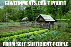 Memes, 🤖, and Grow: GOVERNMENTS CANT PROFIT  @voluntaryisminaction  FROM SELF SUFFICIENT PEOPLE Learn to reload and grow a garden. (LC)