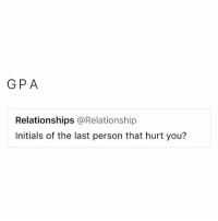 Relationships, Gpa, and You: GPA  Relationships @Relationship  Initials of the last person that hurt you? @_________sext____________