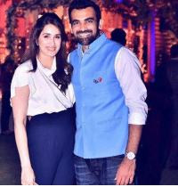 Memes, Party, and 🤖: (GQ1 Zaheer Khan with his fiancee Sagarika during a recent party