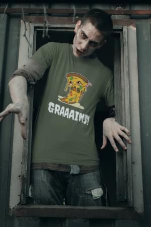 cool-shirts:    Zombie Pizza Funny Halloween T-Shirt: GRAAAIMS! cool-shirts:    Zombie Pizza Funny Halloween T-Shirt