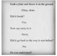 do you understand: Grab a plate and throw it on the ground.  -Okay, done.  Did it break?  -Yes.  Now say sorry to it.  -Sorry  Did it go back to the way it was before?  No.  Do you understand?