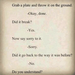 do you understand: Grab a plate and throw it on the ground.  Okay, done  Did it break?  -Yes  Now say sorry to it.  -Sorry  Did it go back to the way it was before?  No.  Do you understand?