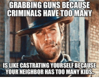 Guns, Memes, and Kids: GRABBING GUNS BECAUSE  CRIMINALS HAVE TOOMANY  IS LIKE CASTRATING YOURSELF BECAUSE  YOUR NEIGHBOR HAS TOO MANY KIDS Sounds about right!