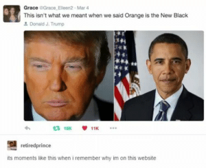 Black, Null, and Orange: Grace Grace Eleen2 Mar4  This isn't what we meant when we said Orange is the New Black  Donald J. Trump  3 15K  11K  retiredprince  its moments like this when i remember why im on this website null