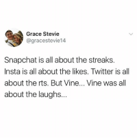 Snapchat, Twitter, and Vine: Grace Stevie  @gracestevie14  Snapchat is all about the streaks.  Insta is all about the likes. Twitter is all  about the rts. But Vine... Vine was all  about the laughs.. Follow my kween @_________sext____________ @_________sext____________ @_________sext____________ @_________sext____________ @_________sext____________ @_________sext____________