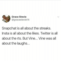 Snapchat, Twitter, and Vine: Grace Stevie  @gracestevie14  Snapchat is all about the streaks.  Insta is all about the likes. Twitter is all  about the rts. But Vine... Vine was all  about the laughs. Imu Vine