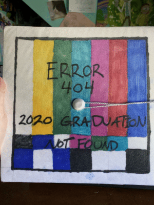 Grad cap this year, not the best at drawing but I think it's cool: Grad cap this year, not the best at drawing but I think it's cool