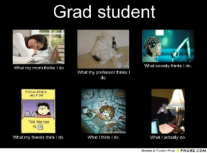 """Doctor, Friends, and Funny: Grad student  What society thinks I do.  What my mom thinks I do  What my professor thinks I  ?syC""""IATRIC  HELP 54  THE DOCTOR  iS  hchealth.com  What I think I do  What my friends think I do.  What I actually do.  MEMES & FUNNY PICS  FRABZ COM graduate school memes 