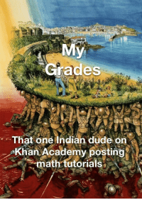 Dude, Thank You, and Academy: Grades  That one Indian dude on  Khan Academy posting  math tutorials* Thank you Khan Academy.
