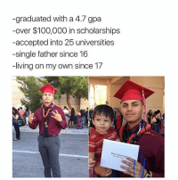 Anaconda, Memes, and Proud: graduated with a 4.7 gpa  -over $100,000 in scholarships  accepted into  25 universities  -single father since 16  -living on my own since 17 So proud of him 👏👏👏🎓🎓🎓