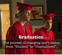 "graduation: Graduation  The process of changing one's status  from ""Student"" to ""Unemployed""."