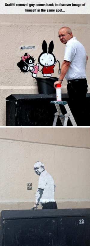 laughoutloud-club:  This Is The Ultimate Troll: Graffiti removal guy comes back to discover image of  himself in the same spot...  22 laughoutloud-club:  This Is The Ultimate Troll