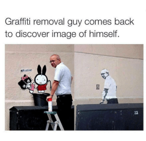 Graffiti, Discover, and Game: Graffiti removal guy comes baclk  to discover image of himself.  ас  SI Graffiti removal guy better step up his game.