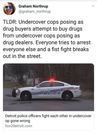 "overherewiththequeers: I'm just waiting to read:  ""Detroit PD reports that they are having difficulty determining who was at fault because all of their bodycams were mysteriously not working."" : Graham Northrup  @graham_northrup  TLDR: Undercover cops posing as  drug buyers attempt to buy drugs  from undercover cops posing as  drug dealers. Everyone tries to arrest  everyone else and a fist fight breaks  out in the street.  143013  911  Detroit police officers fight each other in undercover  op gone wrong  fox2detroit.com overherewiththequeers: I'm just waiting to read:  ""Detroit PD reports that they are having difficulty determining who was at fault because all of their bodycams were mysteriously not working."""