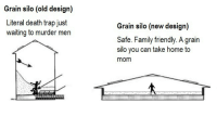 "Fall, Family, and Trap: Grain silo (old design)  Literal death trap just  waiting to murder men  Grain silo (new design)  Safe. Family friendly. A grair  silo you can take home to  mom <p><a href=""https://grain-entrapment.tumblr.com/post/166639256498/matthewsagan-whyisitsohotuphere"" class=""tumblr_blog"">grain-entrapment</a>:</p><blockquote> <p><a href=""http://matthewsagan.tumblr.com/post/166625191369/whyisitsohotuphere-grain-entrapment"" class=""tumblr_blog"">matthewsagan</a>:</p>  <blockquote> <p><a href=""https://whyisitsohotuphere.tumblr.com/post/166623866001/grain-entrapment-matthewsagan"" class=""tumblr_blog"">whyisitsohotuphere</a>:</p> <blockquote> <p><a href=""https://grain-entrapment.tumblr.com/post/166622280538/matthewsagan-grain-entrapment-no-what"" class=""tumblr_blog"">grain-entrapment</a>:</p> <blockquote> <p><a href=""http://matthewsagan.tumblr.com/post/166621644186/grain-entrapment"" class=""tumblr_blog"">matthewsagan</a>:</p>  <blockquote><p><a href=""https://tmblr.co/mcR0GcHif0nHRtfR8o-dsZg"">@grain-entrapment</a><br/></p></blockquote>  <p>No!!! What the fuck!!!</p> </blockquote> <p>new concept: very tall n slim too slim for a person to fall in but same volume<br/></p> </blockquote> <p>You asked for it. You got it:</p> <figure class=""tmblr-full"" data-orig-height=""342"" data-orig-width=""649""><img src=""https://78.media.tumblr.com/8fb880cadfe1f39fb8098eace9ffc36c/tumblr_inline_oy5l4wXWws1sqx52u_540.jpg"" data-orig-height=""342"" data-orig-width=""649""/></figure></blockquote>  <p>STOP!!!! STOP!!!!!!!!!!!</p> </blockquote>"