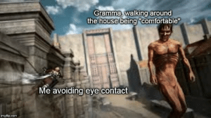 """Comfortable, Reddit, and House: Gramma, walking around  the house being """"comfortable  Me avoiding eye contact  imgflip.com When you can trace your weirdness all the way back to its source"""