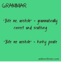 "grammar: GRAMMAR  Bite me, asshole""  grammatically  Correct and scathing  Bite me asshole"" kinky Pirate  authorclfoster com"