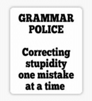 Funny Nazi Stickers | Redbubble: GRAMMAR  POLICE  Correcting  stupidity  one mistake  at a time Funny Nazi Stickers | Redbubble