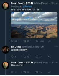 Twitter, Grand, and Dance: Grand Canyon NPS @GrandCanyo... 3h v  Replying to @Twitter  What else would you call this?  NATIONAL  PARK  SERVICE  t 57  1,  046  Bill Dance @Whiskey_Frisky 2h  Large bathroom  3  274  Grand Canyon NPS@GrandCanyo... 1h  NATIONAL  PARK  SERVICE  Please don't  792 meirl
